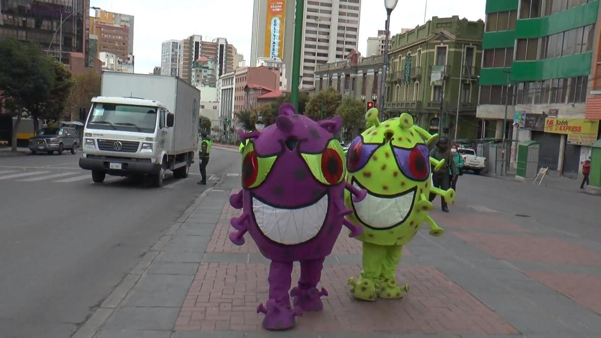 The New Bogeyman? Bolivian Police Dress As COVID-19 To Spread Awareness In La Paz