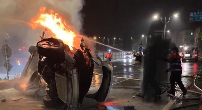 Watch: Tesla Model 3 Crashes And Burns In Taiwan, Driver Dead