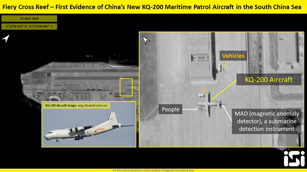Satellite Images: Chinese KQ-200 Maritime Patrol Aircraft Deployed At Fiery Cross Reef In South China Sea