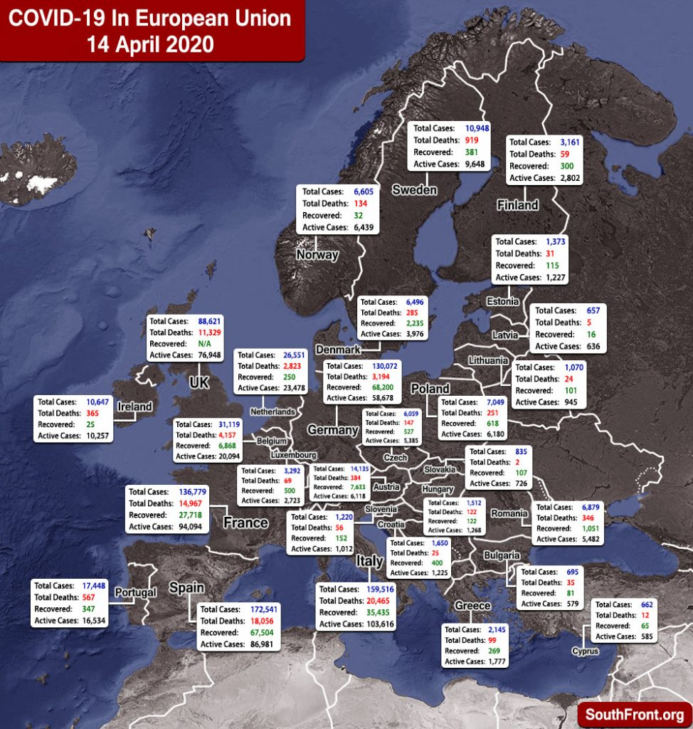 Map Update: COVID-19 Outbreak In European Union And United Kingdom As Of April 14, 2020