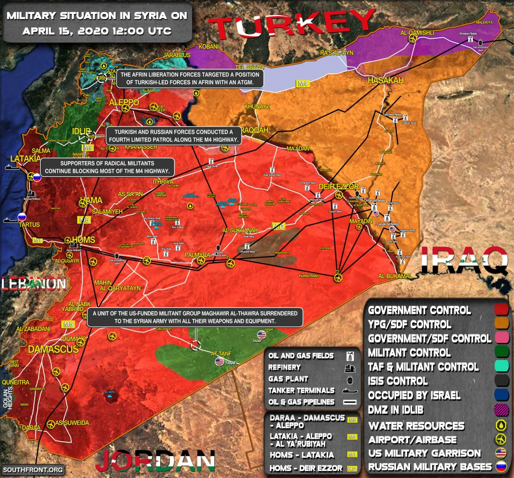 Military Situation In Syria On April 15, 2020 (Map Update)