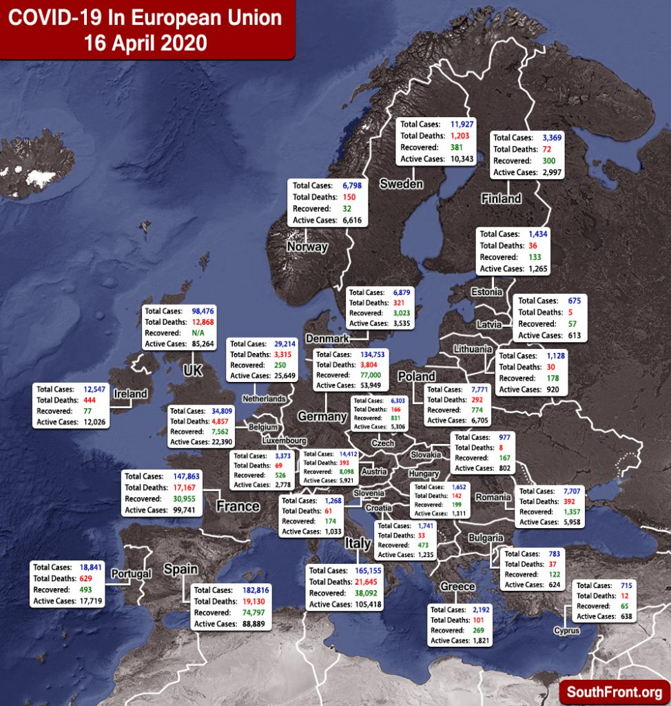 Map Update: COVID-19 Outbreak In European Union And United Kingdom As Of April 16, 2020
