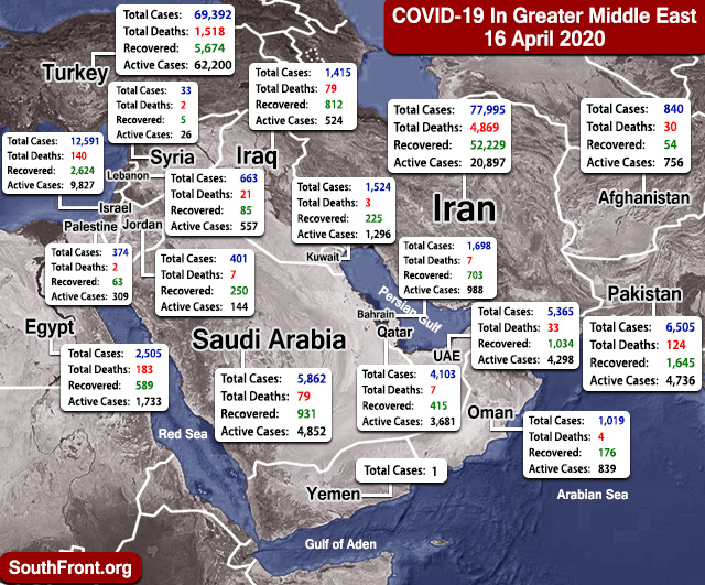 Map Update: COVID-19 Outbreak In Greater Middle East As Of April 16, 2020