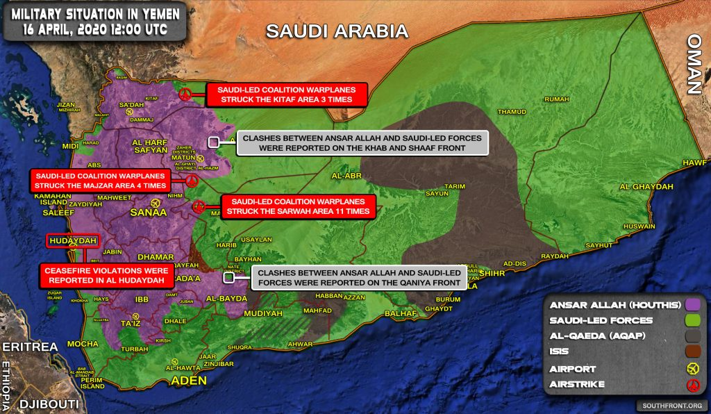 Military Situation In Yemen On April 16, 2020 (Map Update)