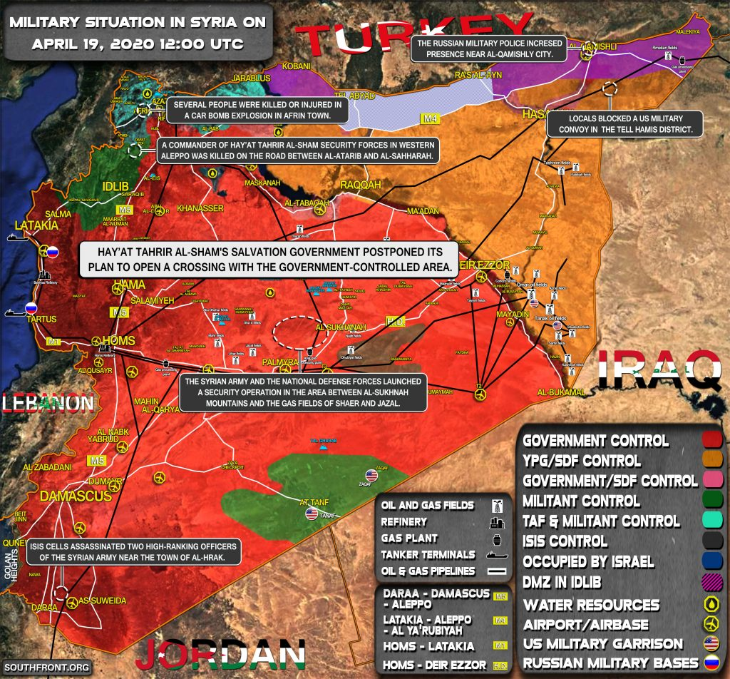 Military Situation In Syria On April 19, 2020 (Map Update)