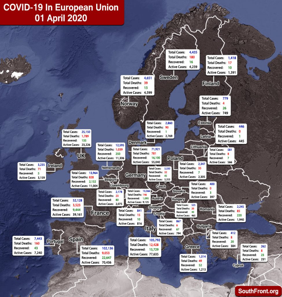 Map Update: COVID-19 Outbreak In European Union And United Kingdom As Of April 1, 2020