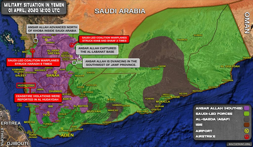 Military Situation In Yemen On April 1, 2020 (Map Update)