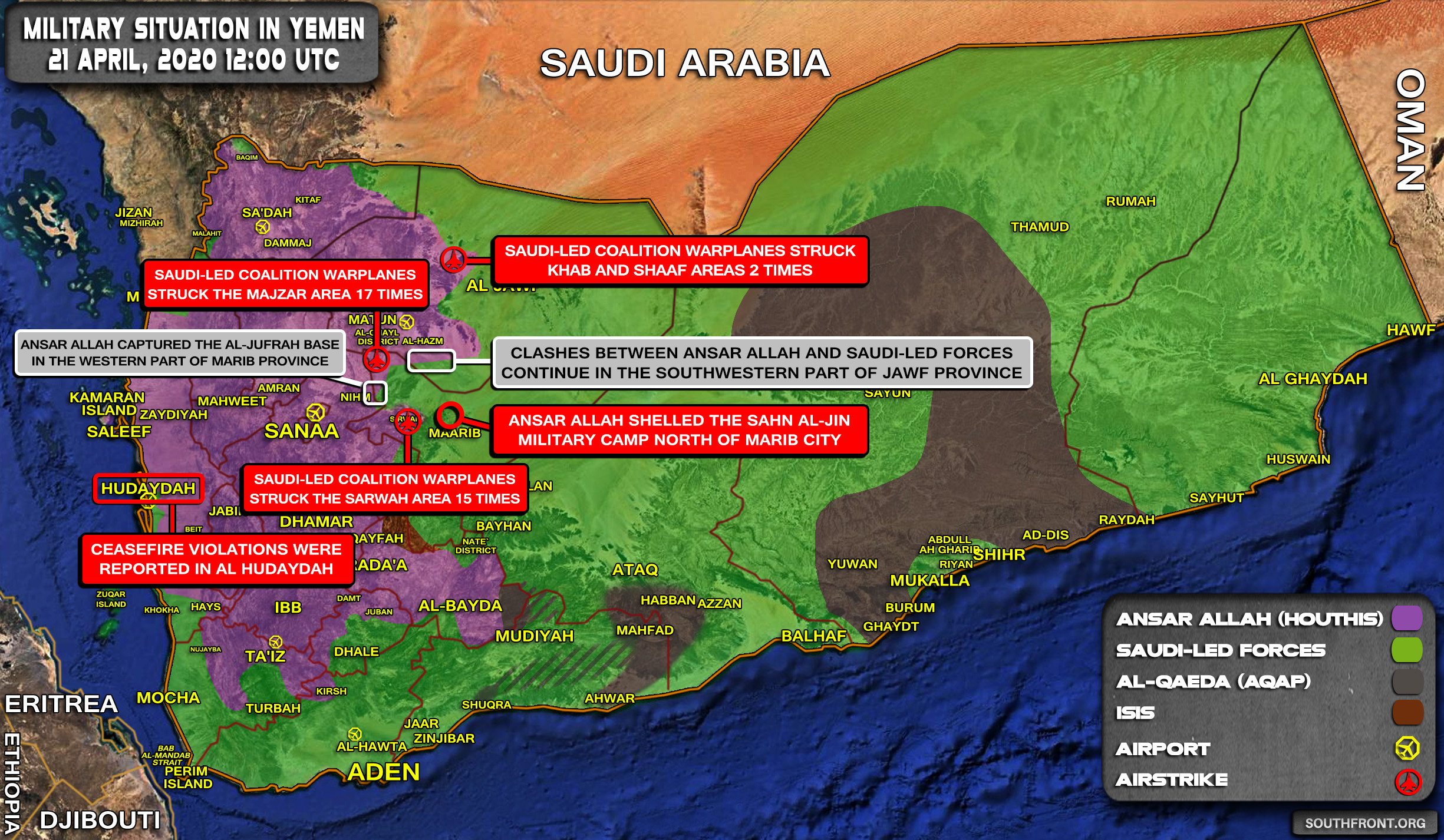 Military Situation In Yemen On April 21, 2020 (Map Update)