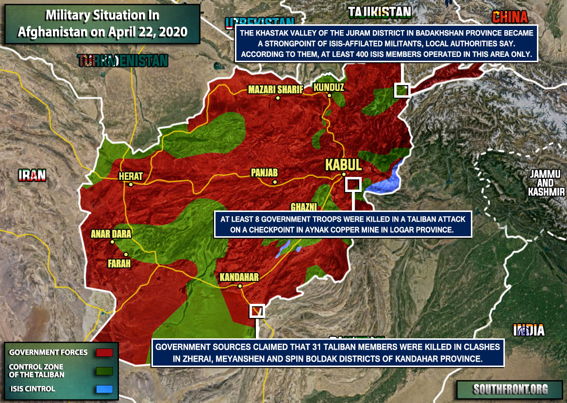 Military Situation In Afghanistan On April 22, 2020 (Map Update)