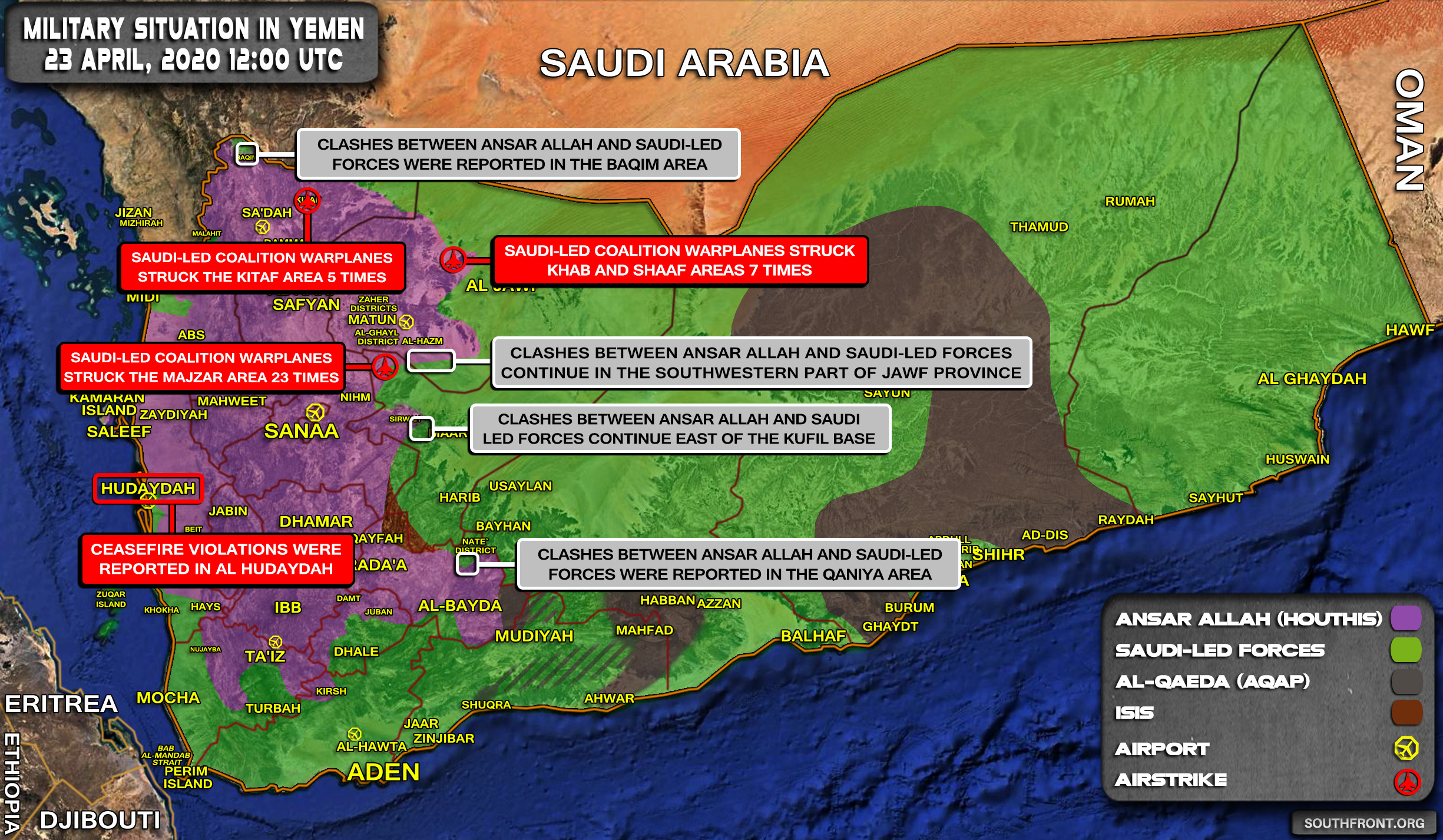 Military Situation In Yemen On April 23, 2020 (Map Update)