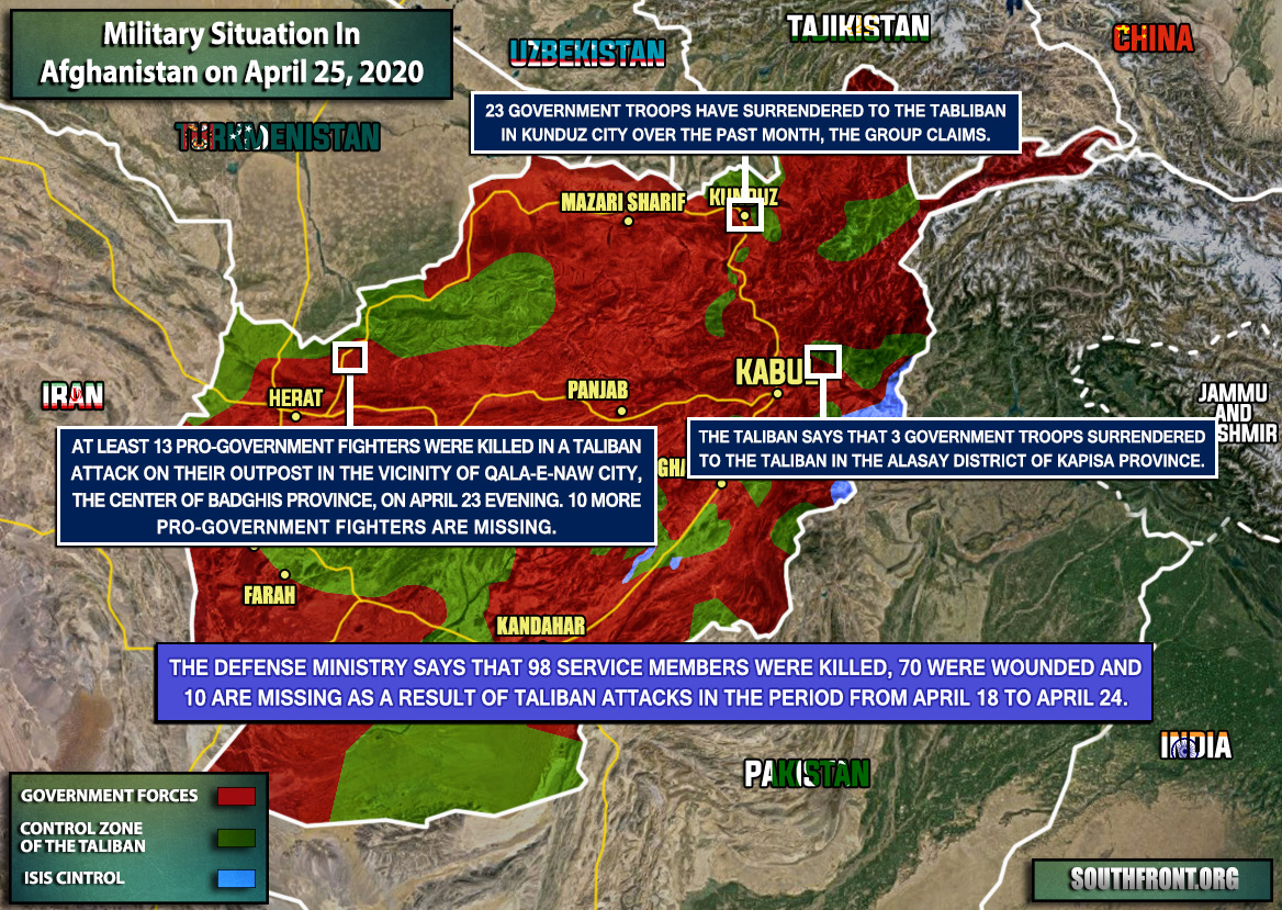 Military Situation In Afghanistan On April 25, 2020 (Map Update)