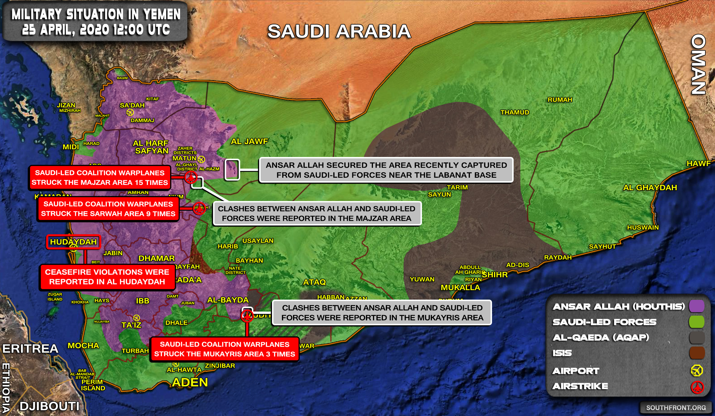 Military Situation In Yemen On April 25, 2020 (Map Update)