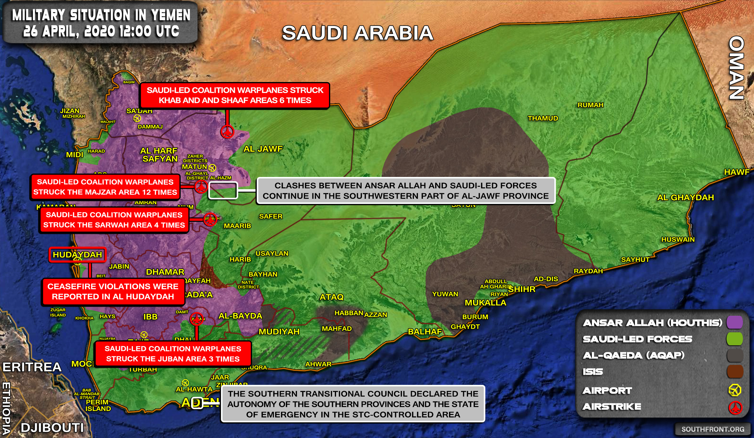 Military Situation In Yemen On April 26, 2020 (Map Update)