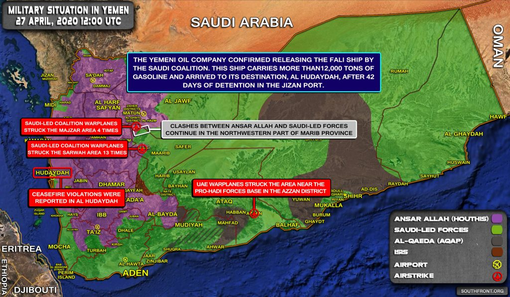 Military Situation In Yemen On April 27, 2020 (Map Update)