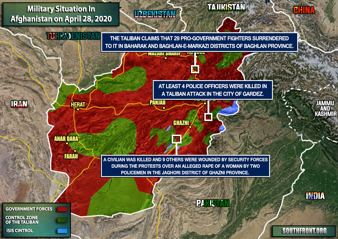 Military Situation In Afghanistan On April 28, 2020 (Map Update)