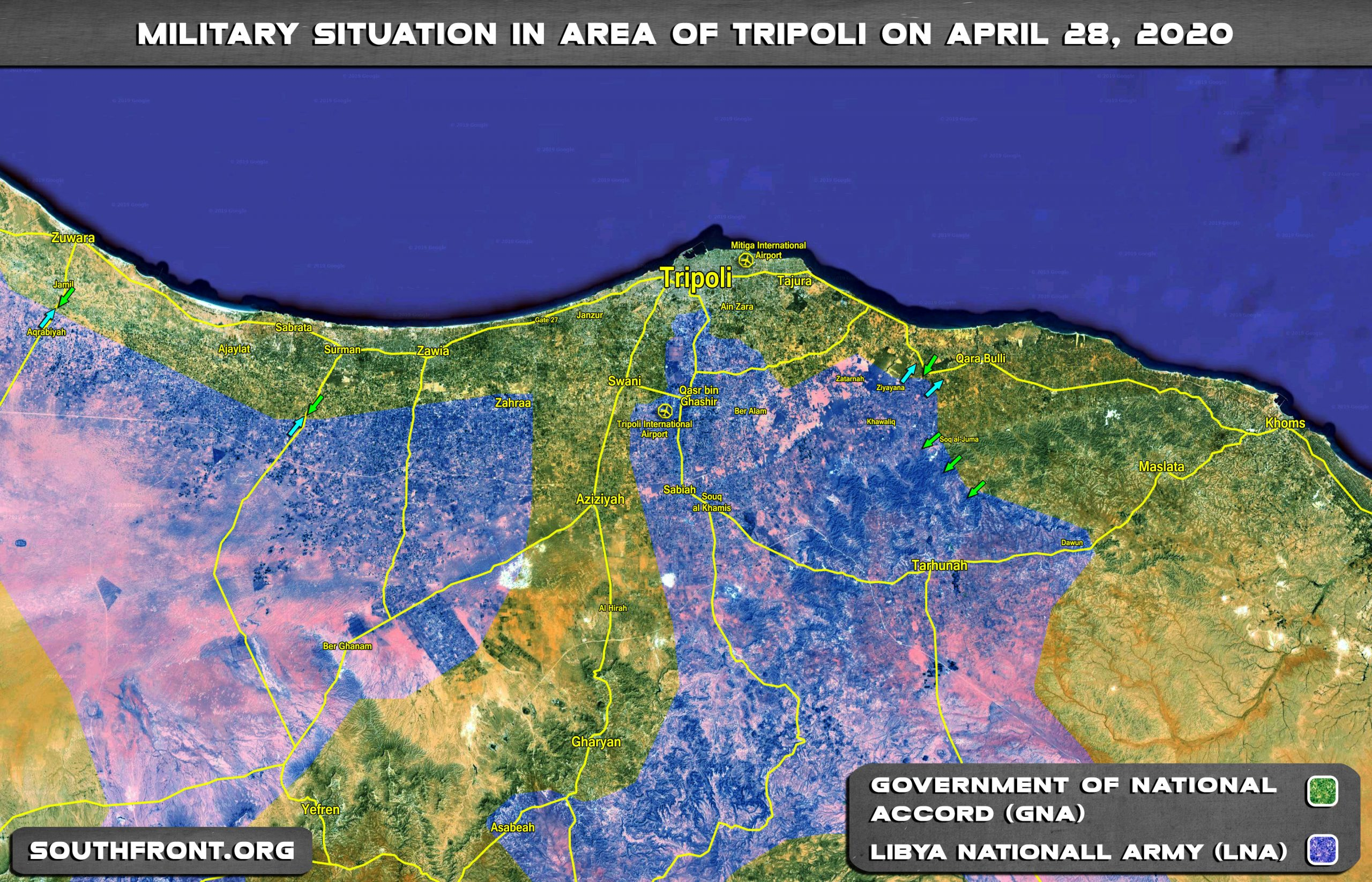 Military Situation In Area Of Libya's Tripoli On April 28, 2020 (Map Update)