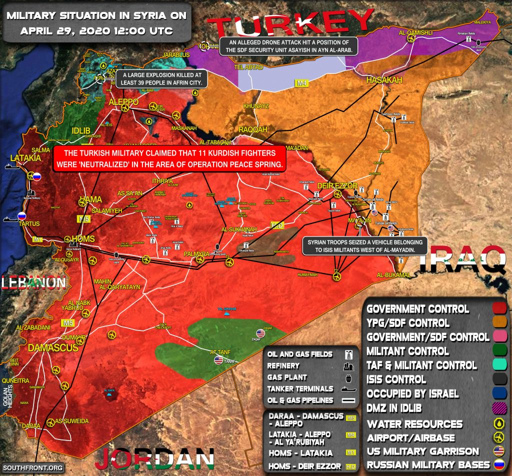 Military Situation In Syria On April 29, 2020 (Map Update)