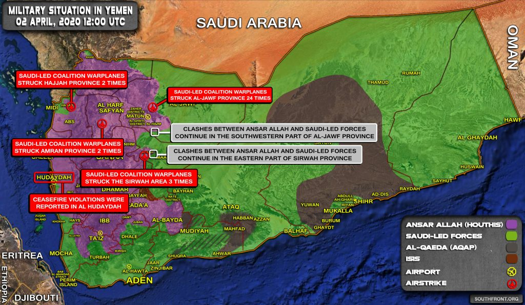 Military Situation In Yemen On April 2, 2020 (Map Update)