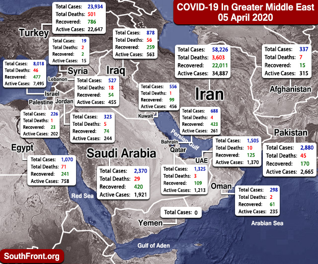 Map Update: COVID-19 Outbreak In Greater Middle East As Of April 5, 2020