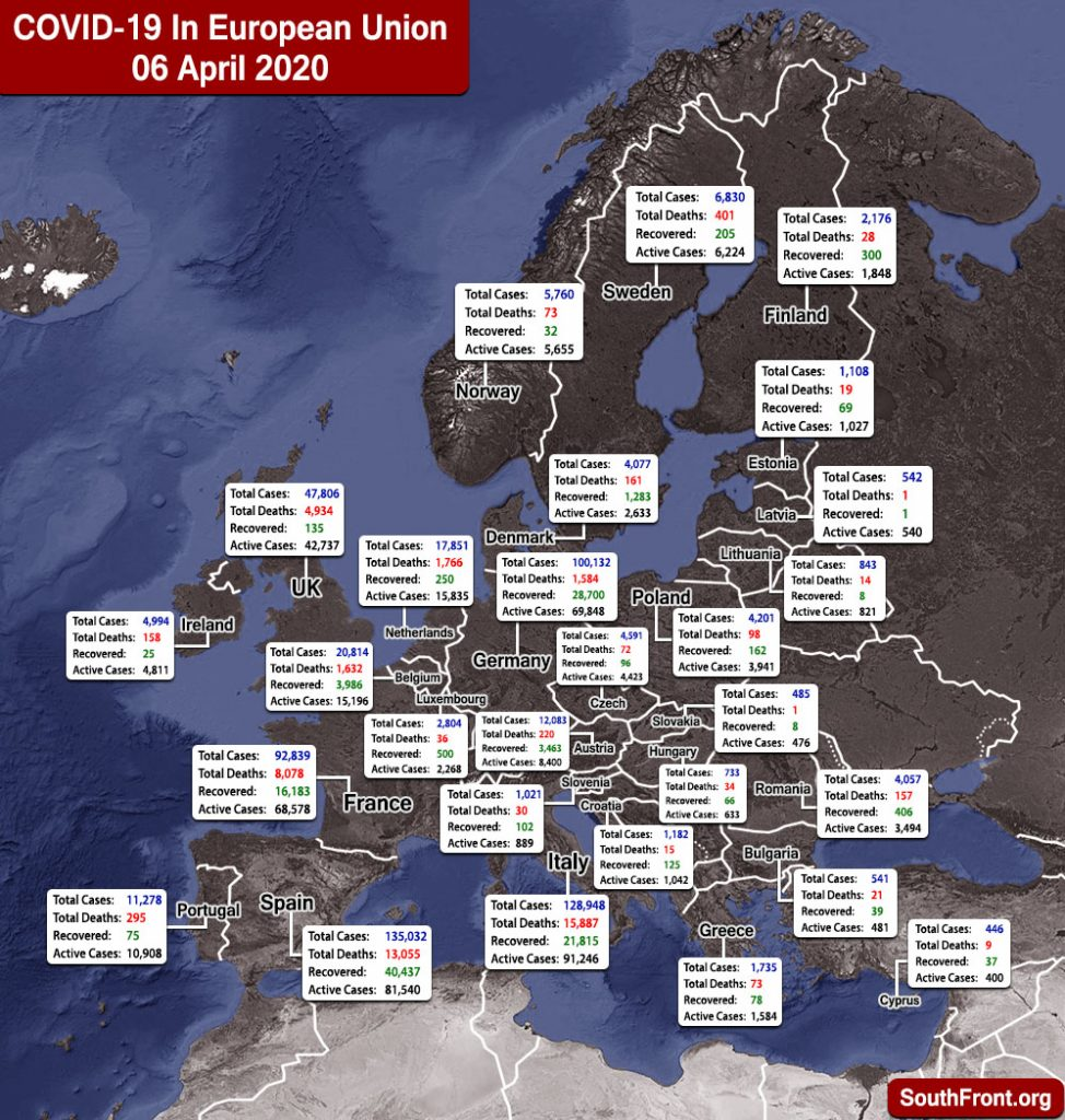 Map Update: COVID-19 Outbreak In European Union And United Kingdom As Of April 6, 2020