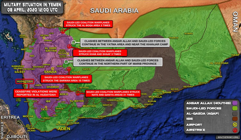 Military Situation In Yemen On April 8, 2020 (Map Update)