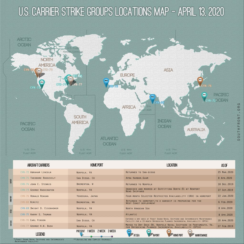 Locations Of US Carrier Strike Groups – April 13, 2020