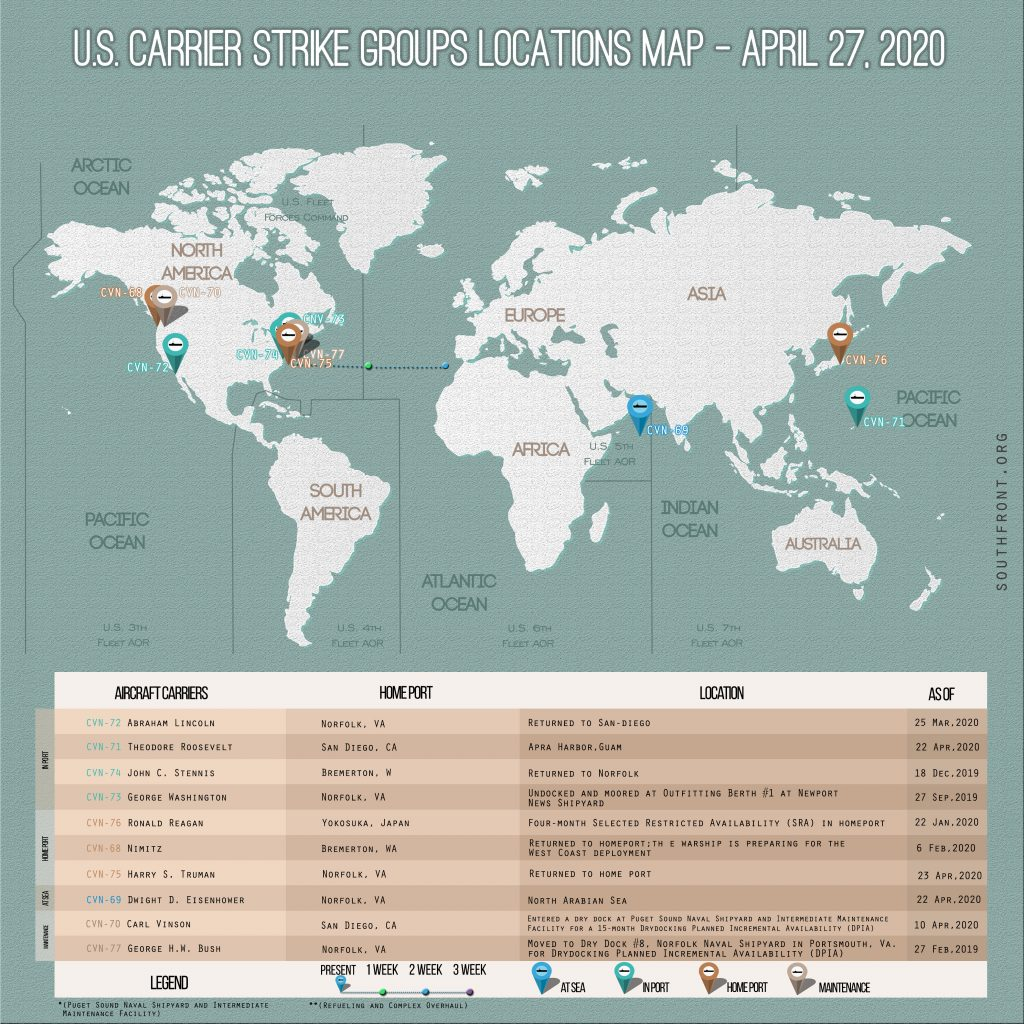 Locations Of US Carrier Strike Groups – April 27, 2020