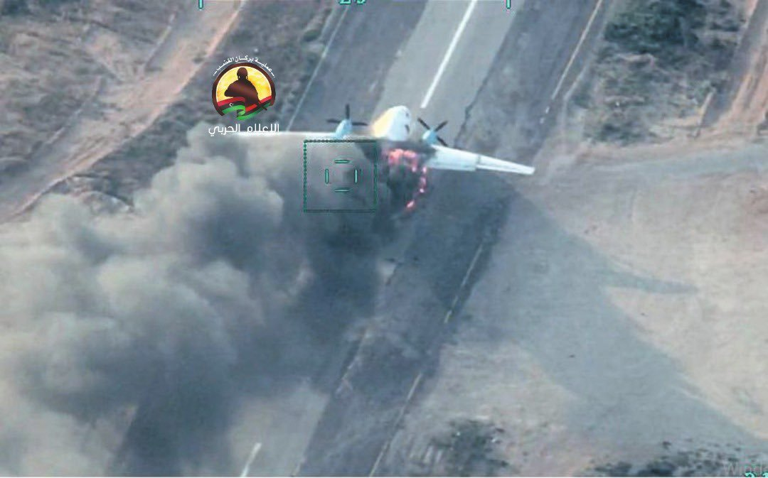 Photo Shows Alleged LNA Transport Aircraft Destroyed By Turkish-backed Forces Near Tarhuna