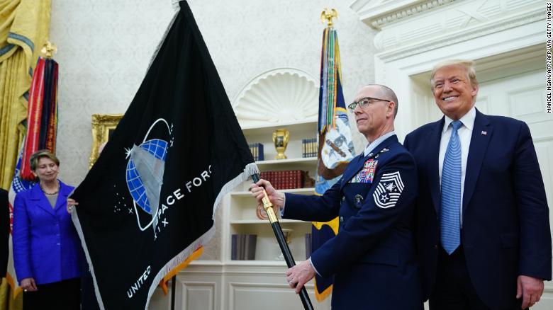 Trump Reveals Space Force Flag And 'Super-Duper Missile' Plan