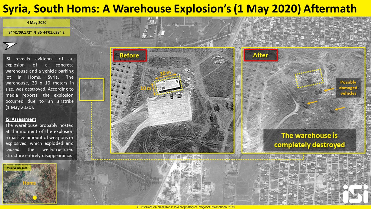 Satellite Image: Impact Of Explosion At Warehouse In Syria's Homs On May 1