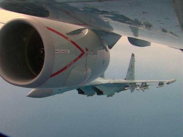Russian Su-35s Harras US Spy Plane Flying Off Syrian Coast (Video, Photos)