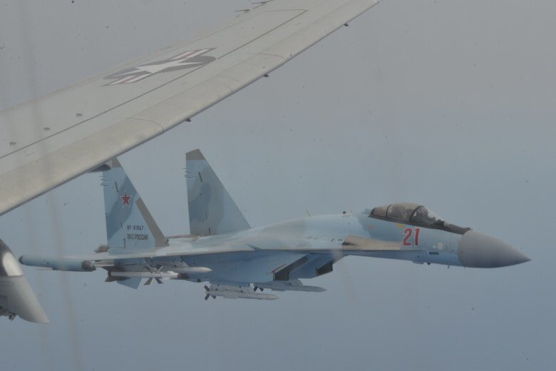 Russian Su-35s Harras US Spy Plane Flying Off Syrian Coast (Video, Photos)