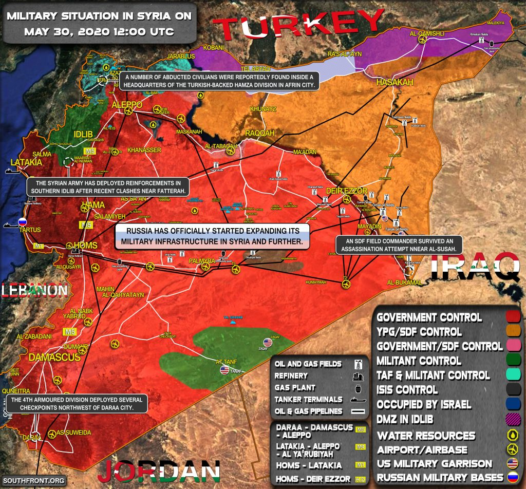 Military Situation In Syria On May 30, 2020 (Map Update)