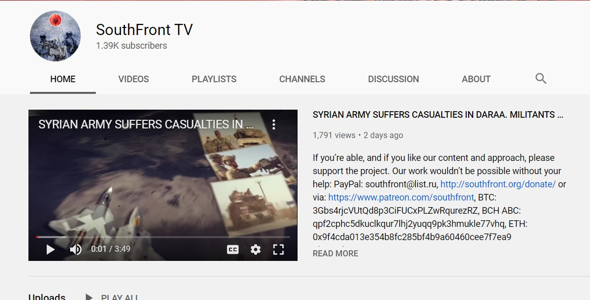 YouTube Restored SouthFront's Temporarily Channel Blocked On Saturday