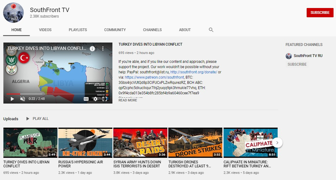 SouthFront's New YouTube Channel