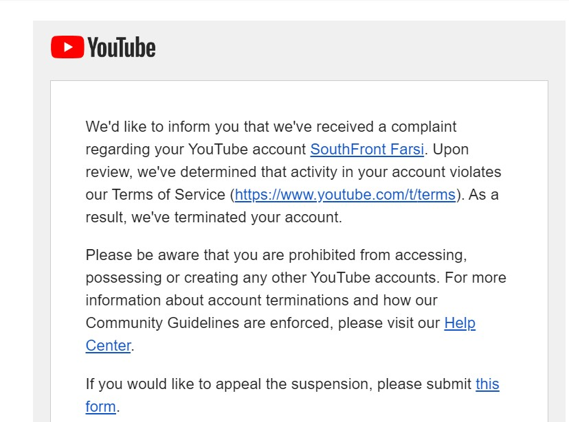 SouthFront's YouTube Channel Is Banned