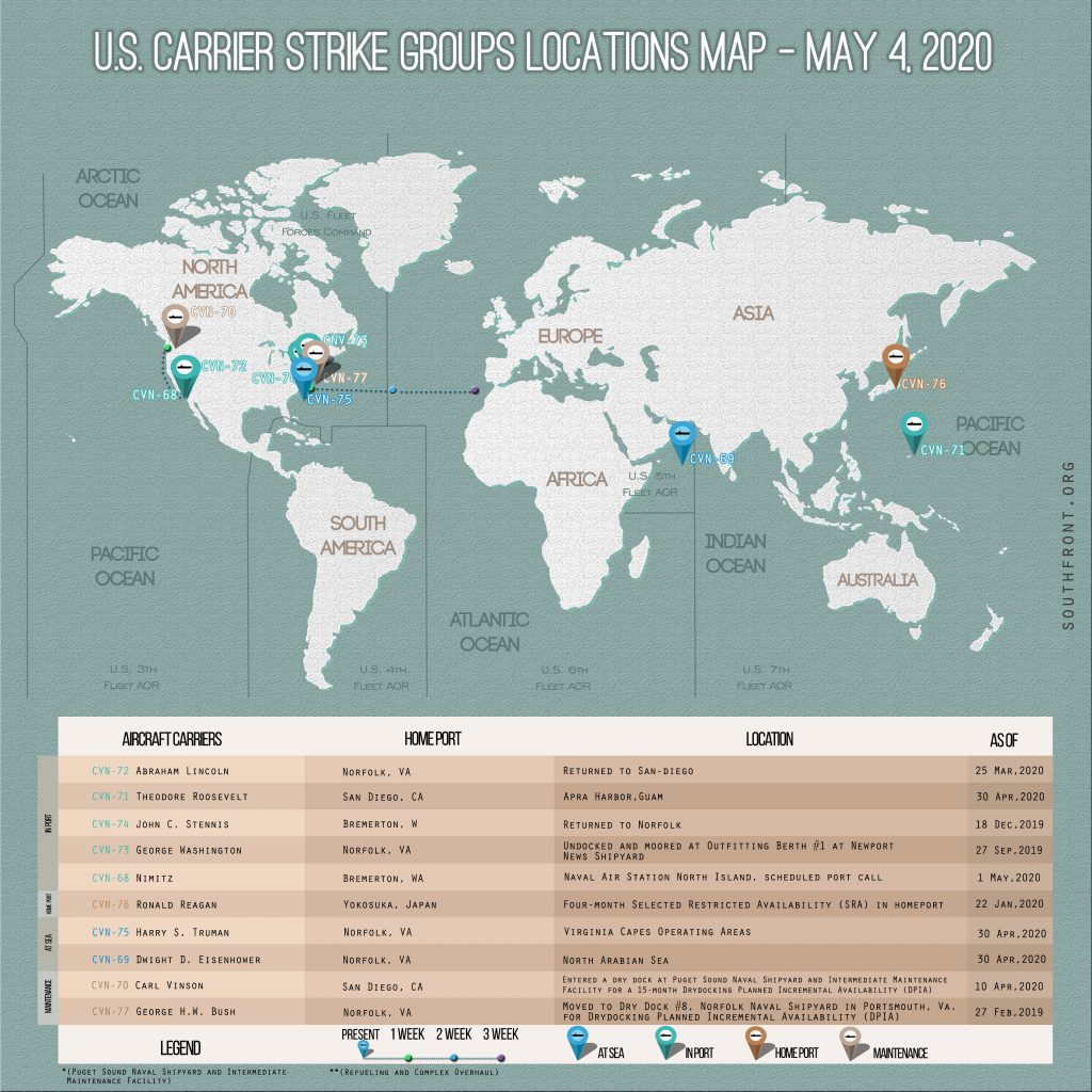 Locations Of US Carrier Strike Groups – May 4, 2020