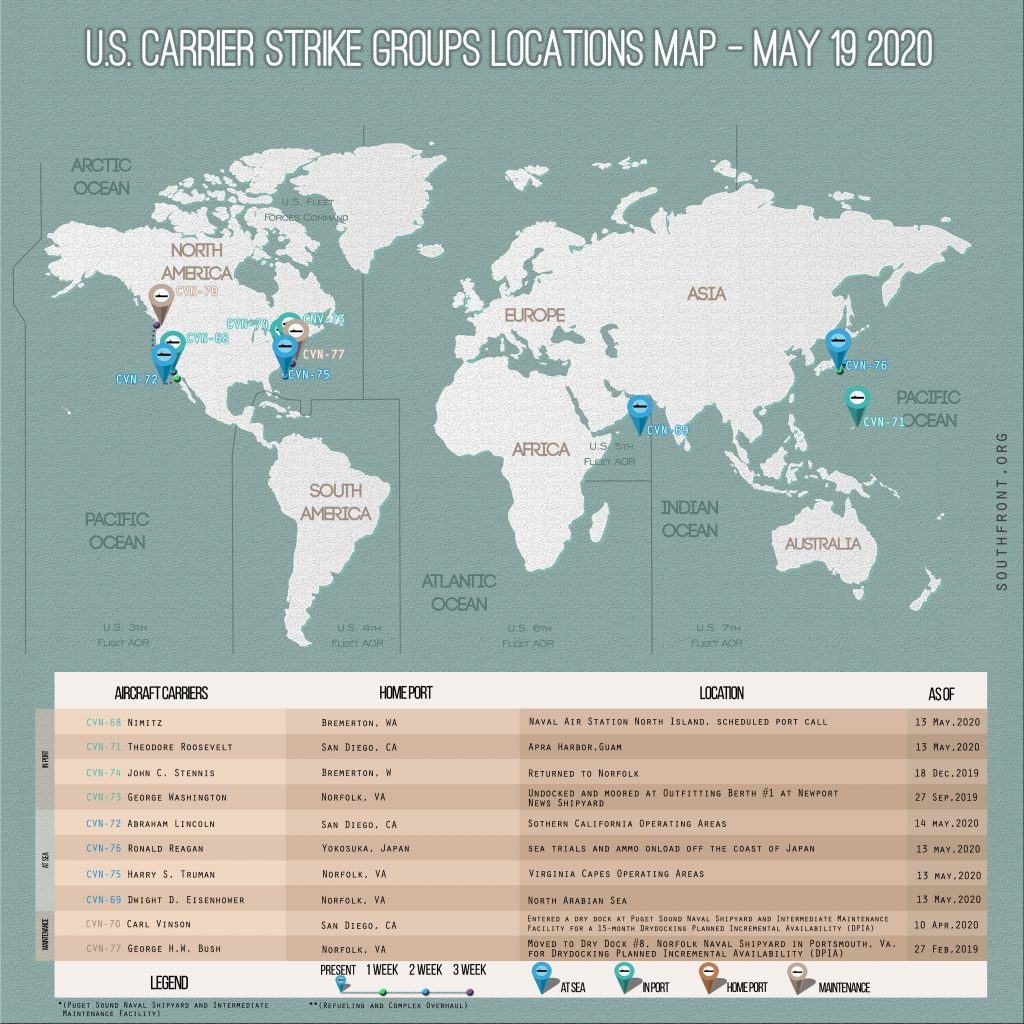 Locations Of US Carrier Strike Groups – May 19, 2020