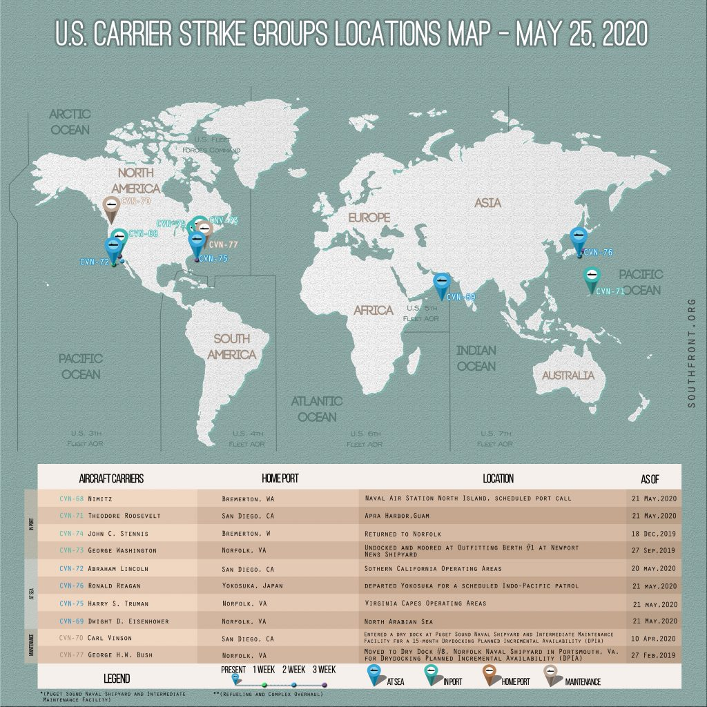 Locations Of US Carrier Strike Groups – May 25, 2020