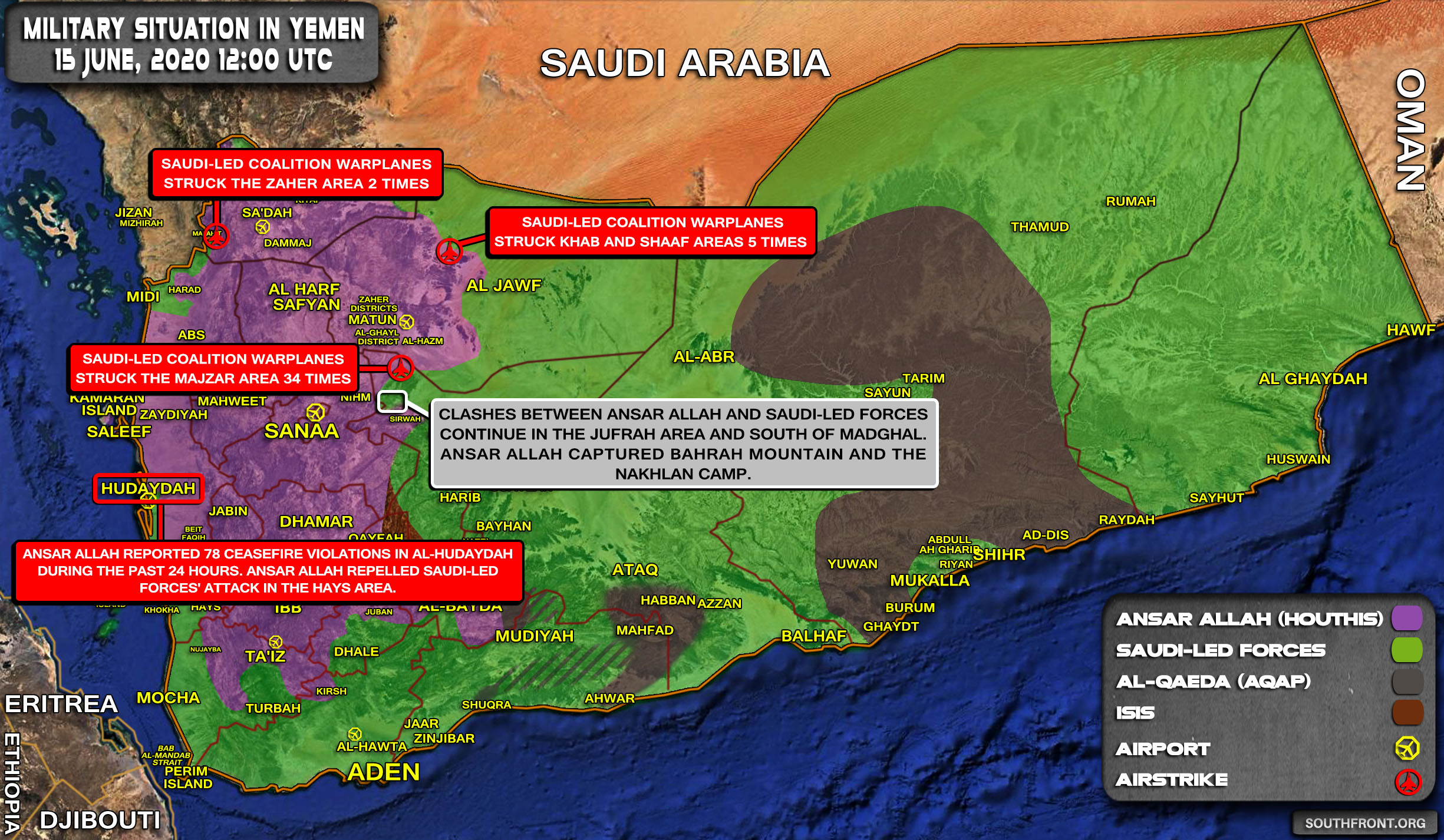 Military Situation In Yemen On June 15, 2020 (Map Update)
