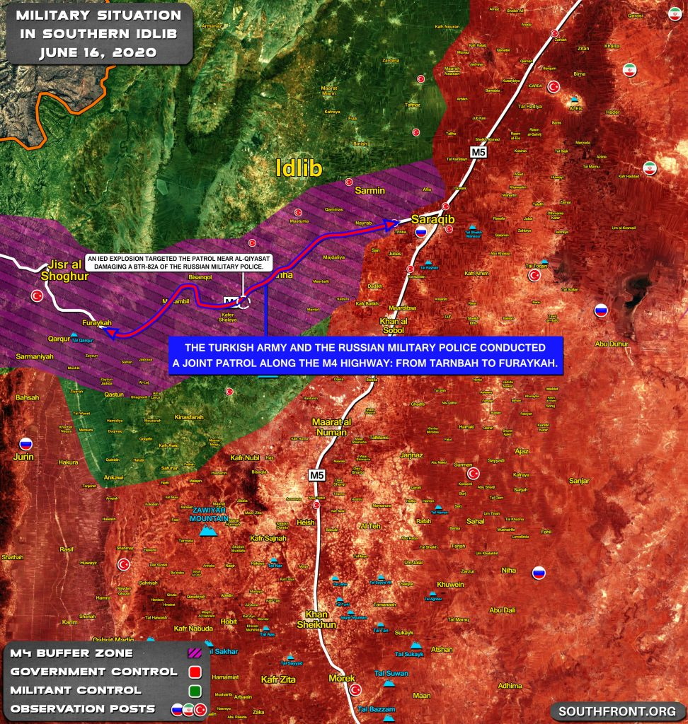 Map Update: IED Attack On Joint Turkish-Russian Patrol In Southern Idlib