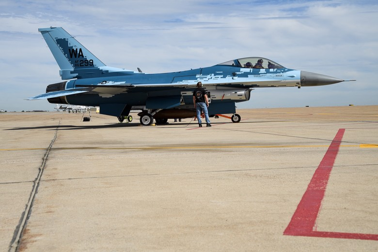 U.S. 64th Aggressor Squadron Repaints Its F-16s To Resemble Russian Su-57s