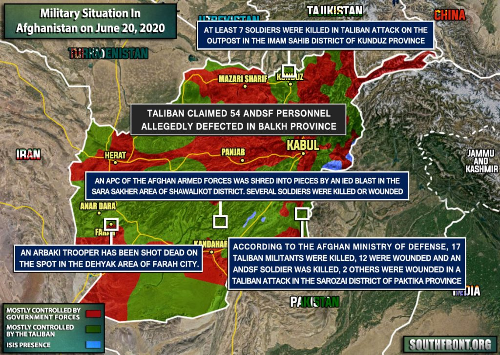 Military Situation In Afghanistan On June 20, 2020 (Map Update)
