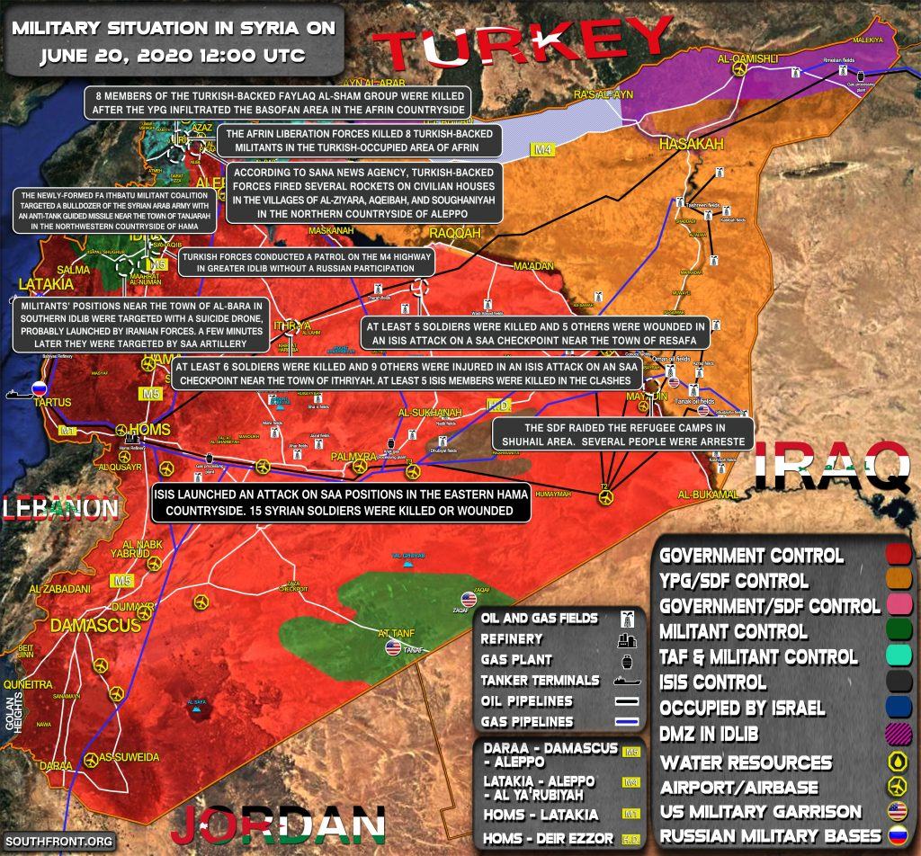 Military Situation In Syria On June 20, 2020 (Map Update)