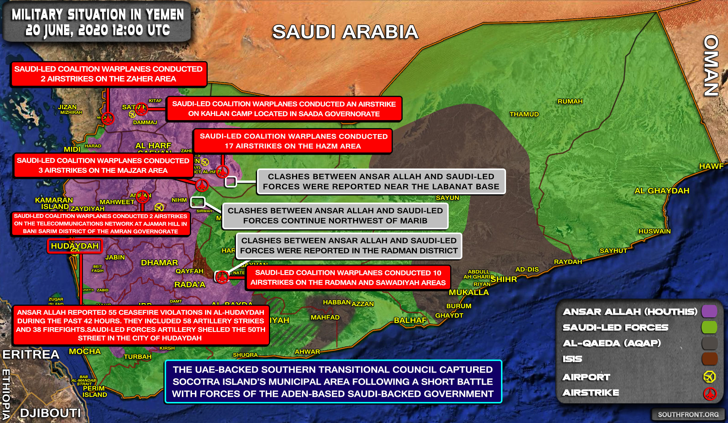 Military Situation In Yemen On June 20, 2020 (Map Update)