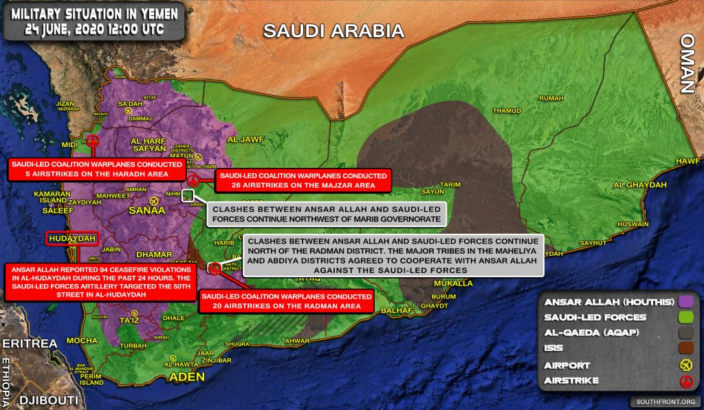 Military Situation In Yemen On June 24, 2020 (Map Update)
