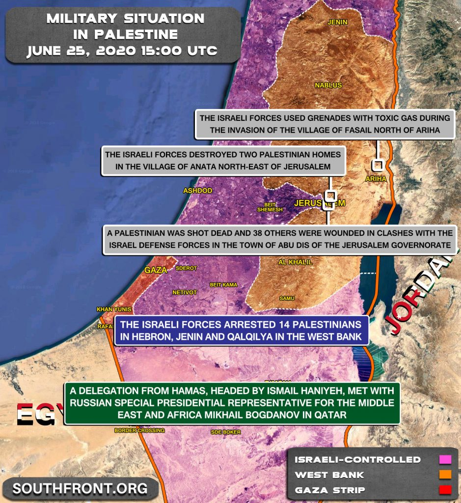 Military Situation In Palestine On June 25, 2020 (Map Update)
