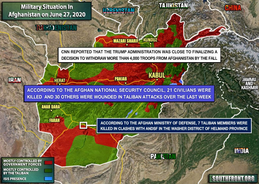 Military Situation In Afghanistan On June 27, 2020 (Map Update)