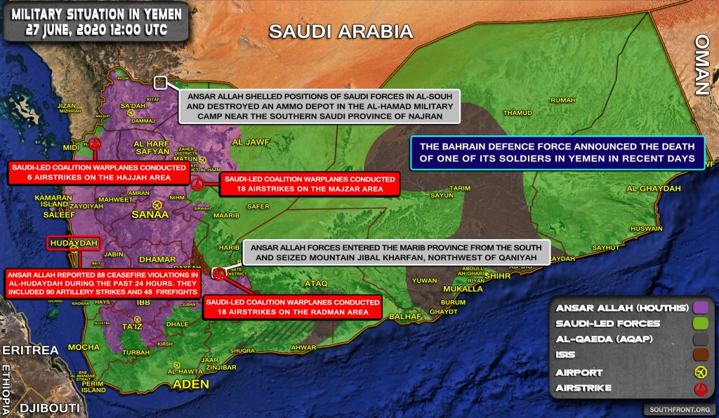 Military Situation In Yemen On June 27, 2020 (Map Update)