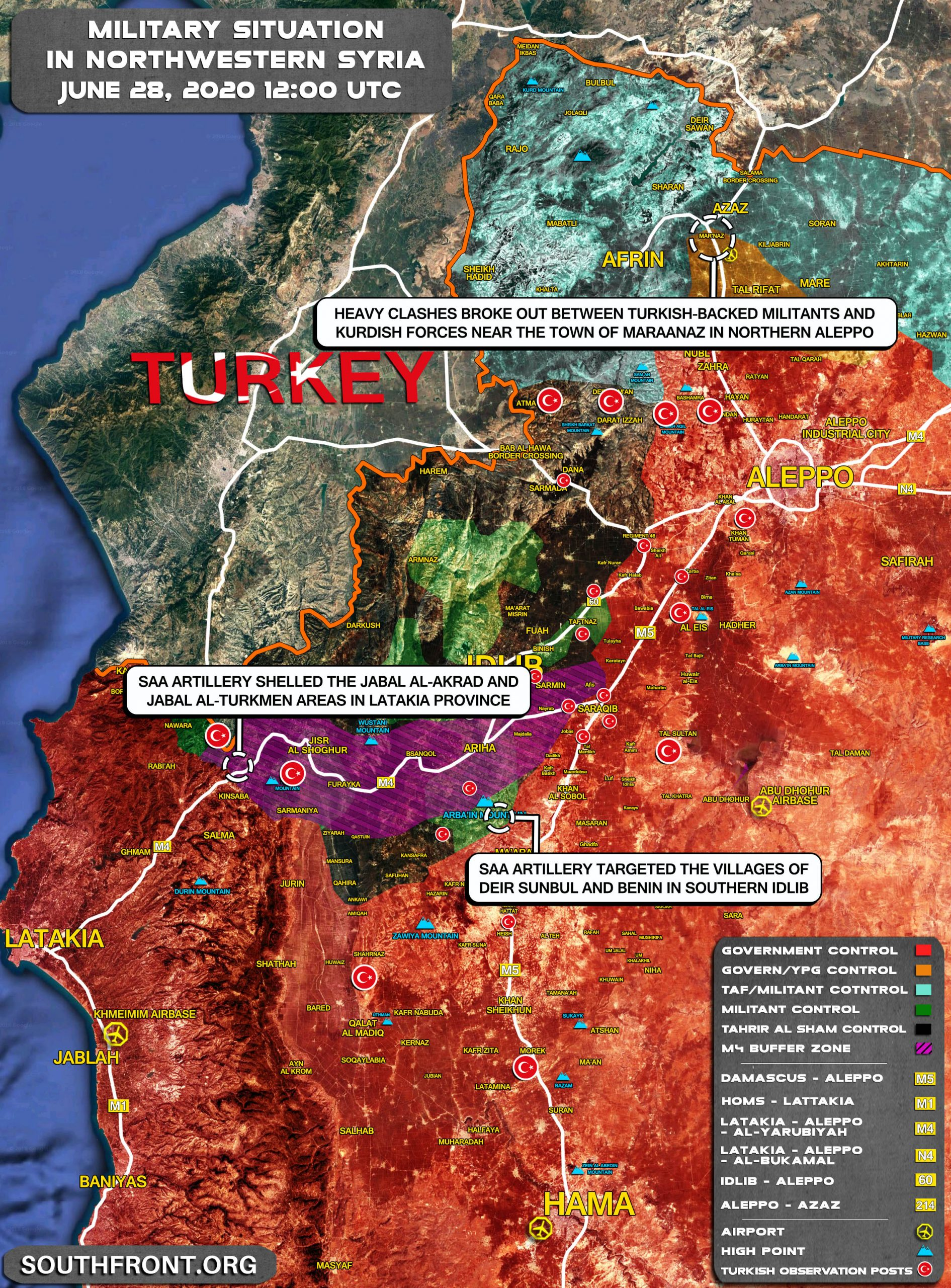 Military Situation In Greater Idlib And Afrin On June 28, 2020 (Map Update)